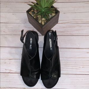 AEROSOLES BLACK WEDGE MULE SLIDES SHoes Size 6.5